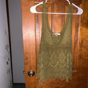 Forever 21 Green Sheer Lace Tank top Blouse M